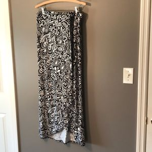 Floor length layered looking Black and white skirt